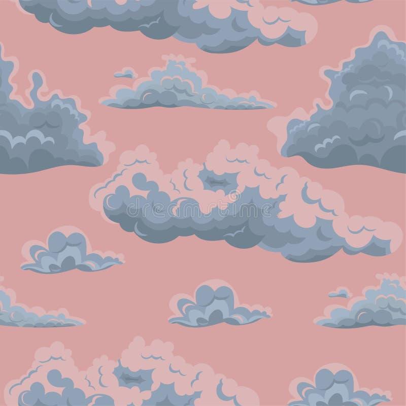Безшовная текстура с облаками Шаблон вектора для ткани, упаковочной бумаги и другой иллюстрация штока