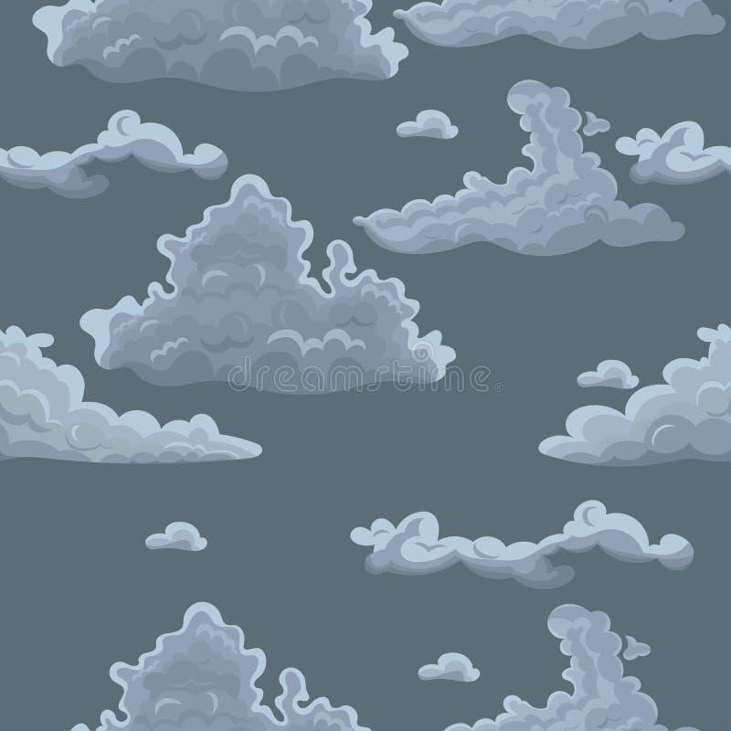 Безшовная текстура с облаками Шаблон вектора для ткани, упаковочной бумаги и другой иллюстрация вектора