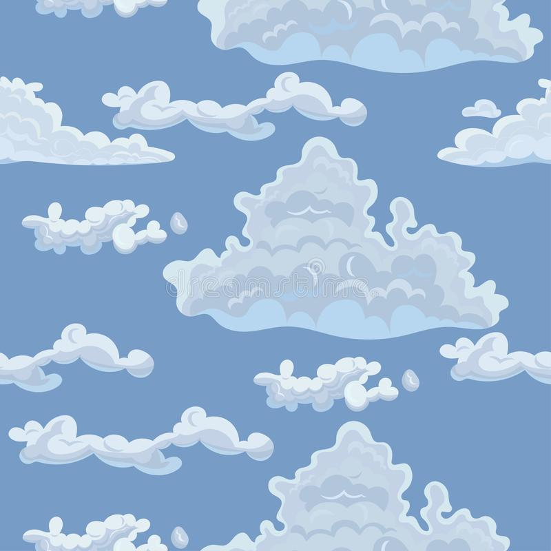 Безшовная текстура с облаками Шаблон вектора для ткани, упаковочной бумаги и другой бесплатная иллюстрация