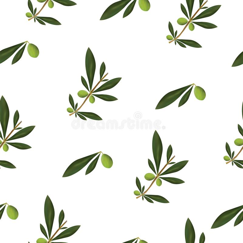 Безшовная текстура с оливковым деревом и прованским вектором oiles - зеленым цветочным узором иллюстрация вектора