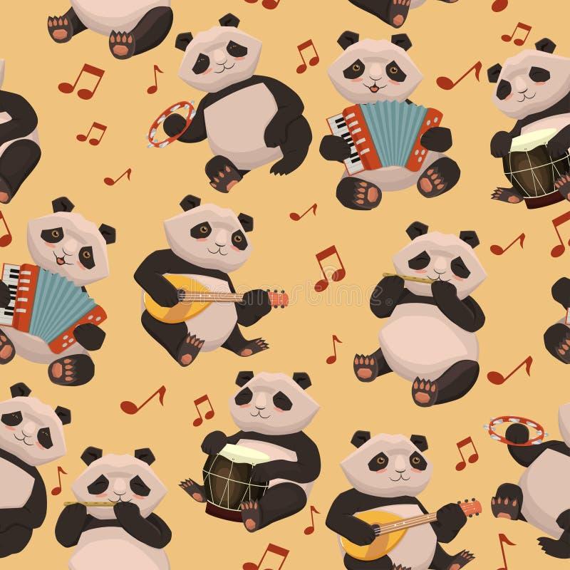 Безшовная текстура с пандами играя музыкальные инструменты o бесплатная иллюстрация
