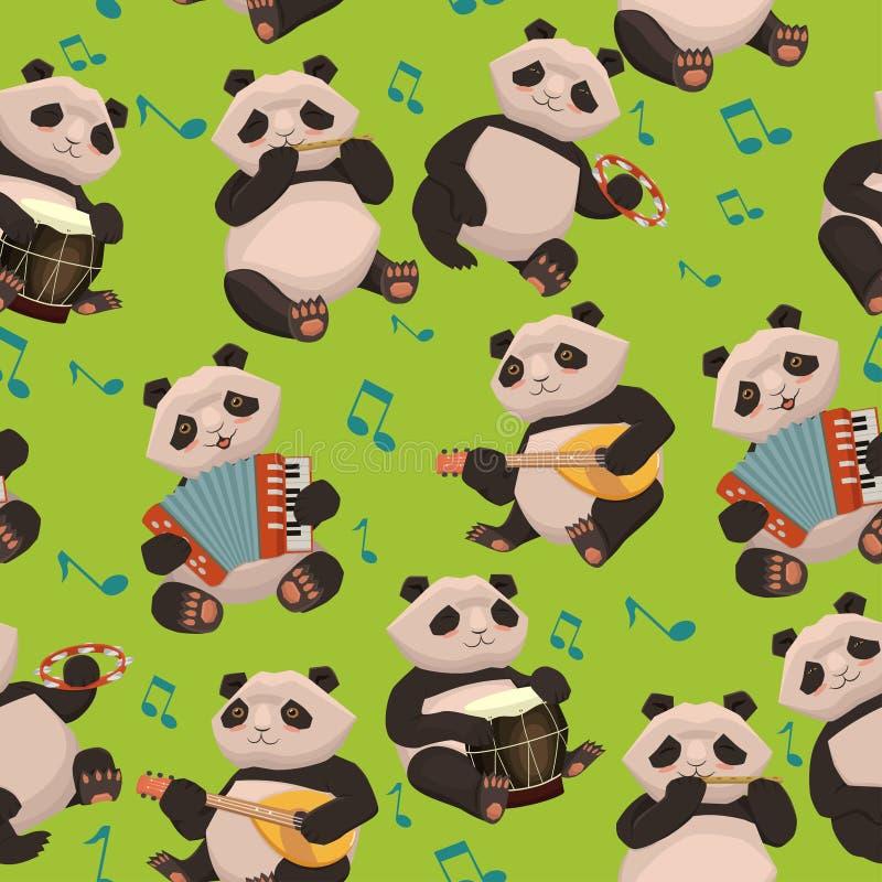 Безшовная текстура с пандами играя музыкальные инструменты o иллюстрация штока
