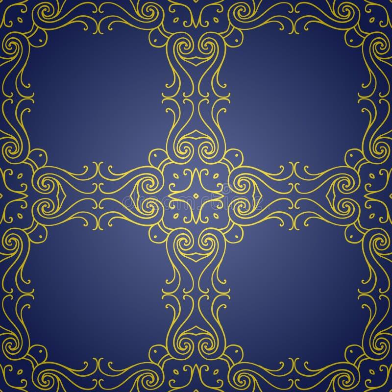 Безшовная текстура с роскошным арабским орнаментом Картина года сбора винограда вектора иллюстрация вектора