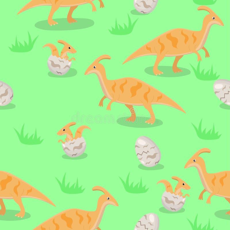 Безшовная текстура с семьей динозавров o иллюстрация штока