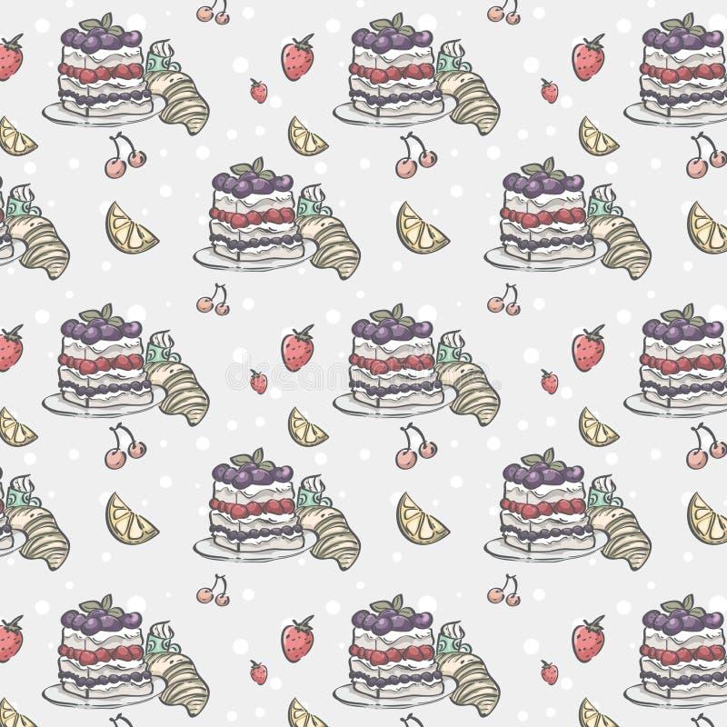 Безшовная текстура с тортом и ягодами бесплатная иллюстрация