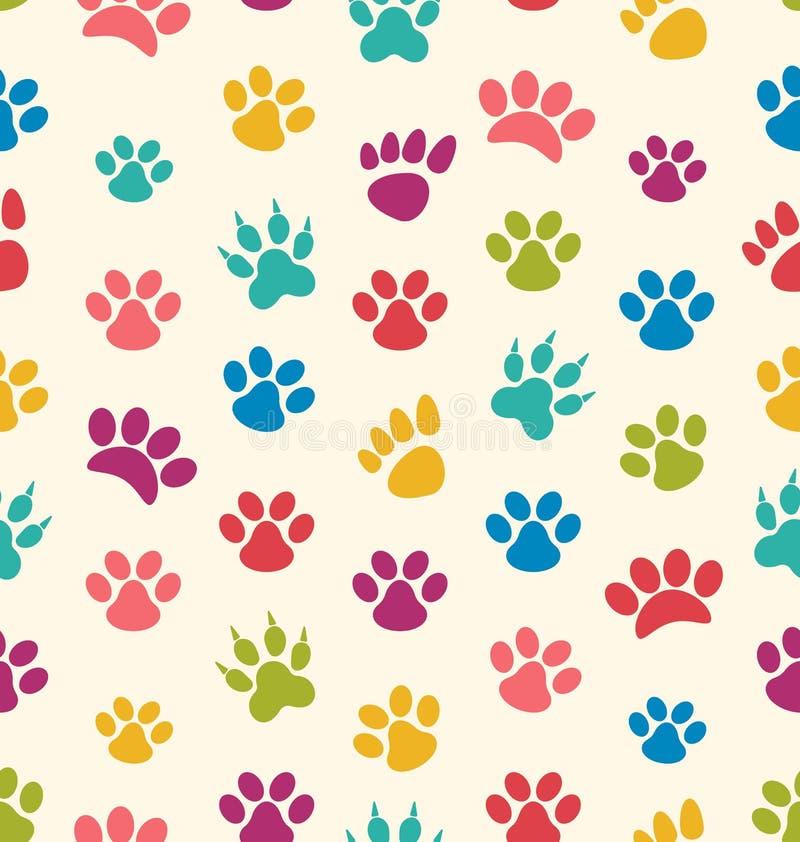 Безшовная текстура с трассировками котов, собак Отпечатки любимчика лапок иллюстрация вектора