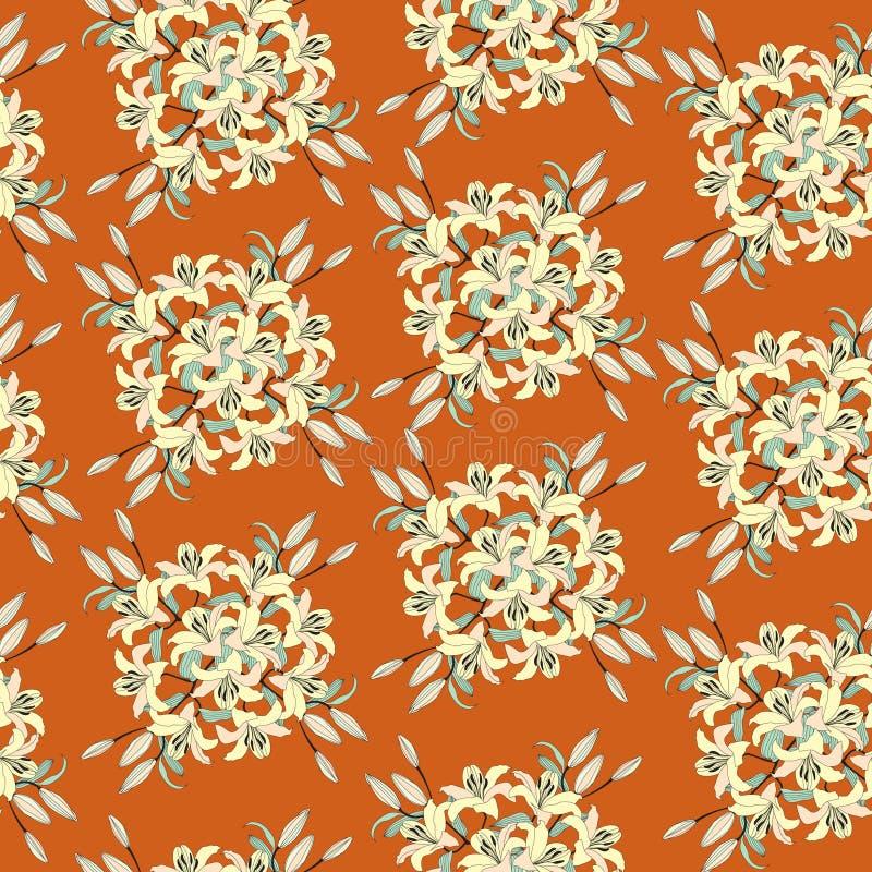 Безшовная текстура с флористическим орнаментом бесплатная иллюстрация