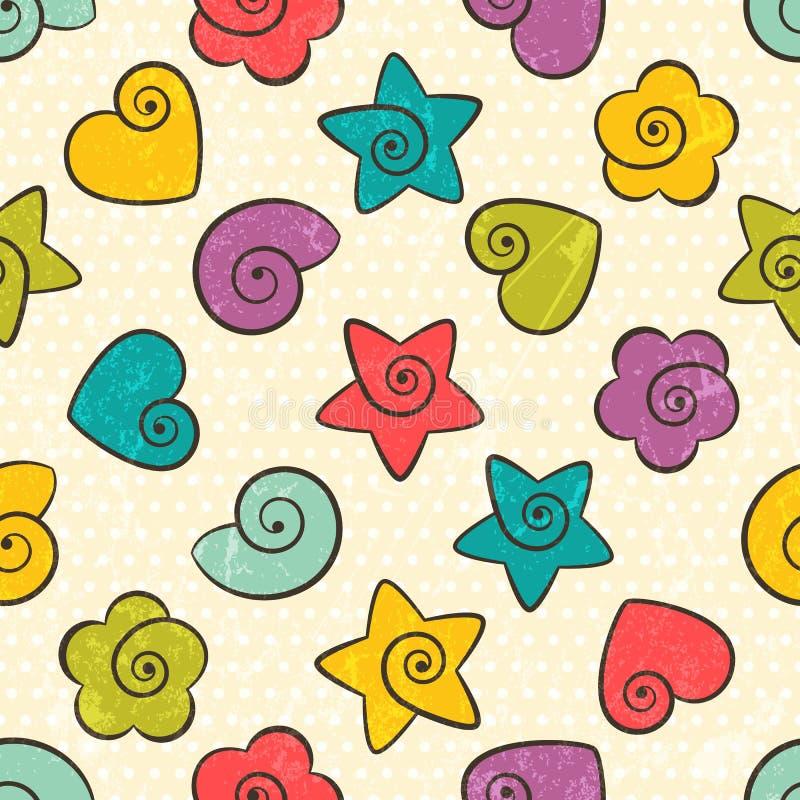 Безшовная текстура с формами цвета иллюстрация штока