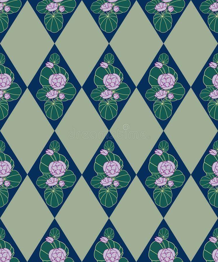 Безшовная текстура с цветками в диамантах бесплатная иллюстрация