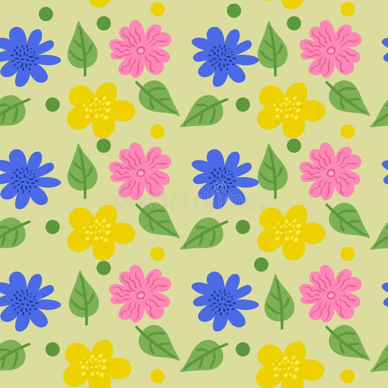 Безшовная текстура с цветками в стиле doodle r иллюстрация вектора