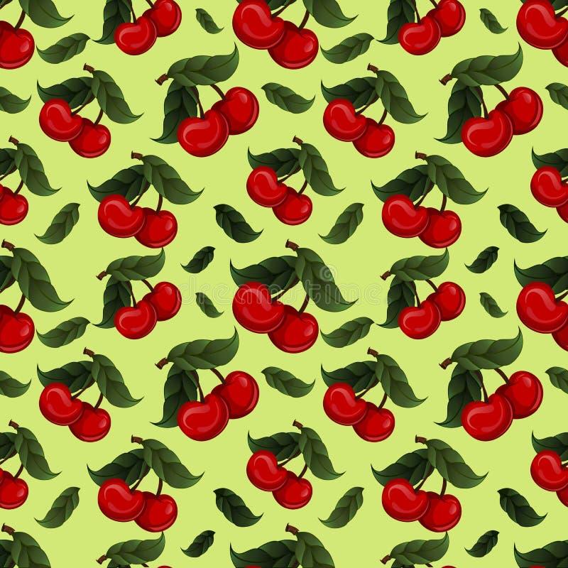 Безшовная текстура - яркий сочный свежий плодоовощ вишни иллюстрация вектора