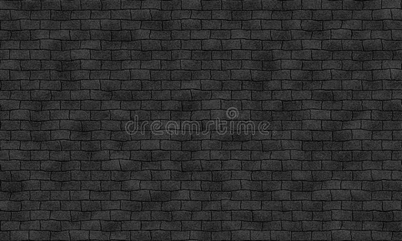 Безшовная темная черная картина плитки кирпичной стены способная Неровная форма Для внутреннего, внешний представьте составлять к иллюстрация штока