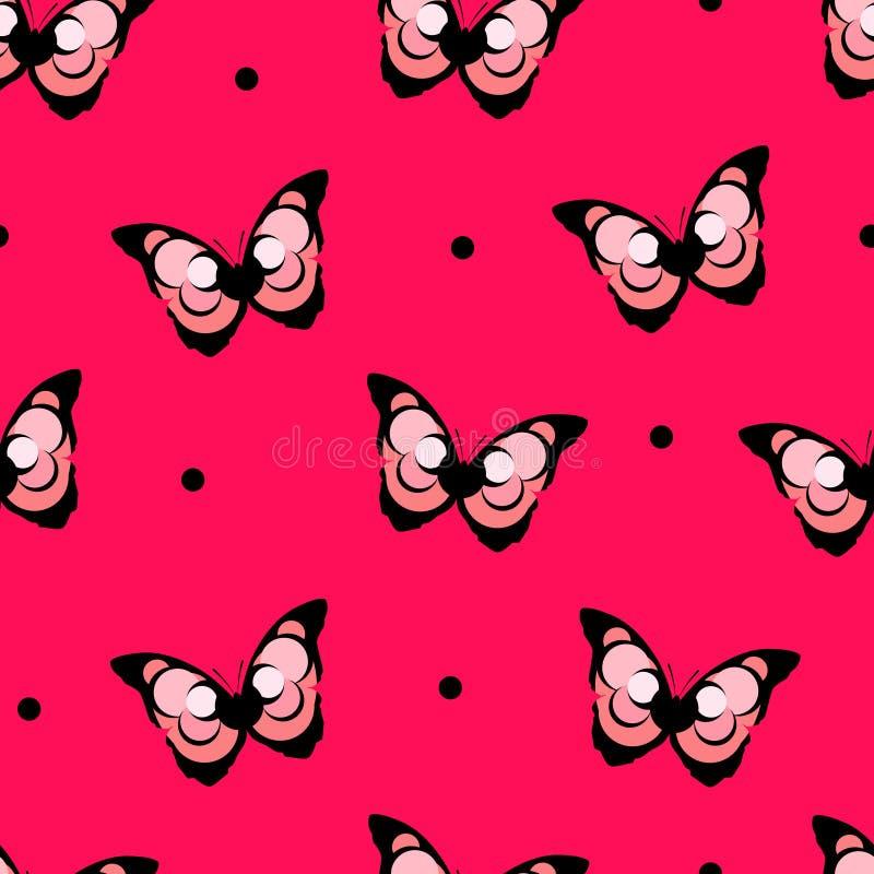 Безшовная точка польки картины с абстрактной бабочкой на красной предпосылке вектор иллюстрация штока