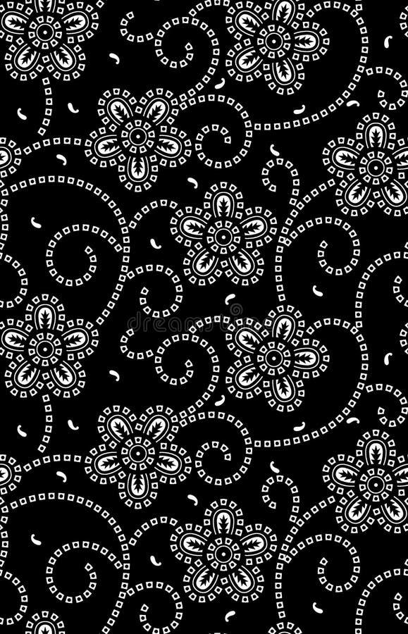 Безшовная традиционная картина пестрого платка черно-белая иллюстрация вектора