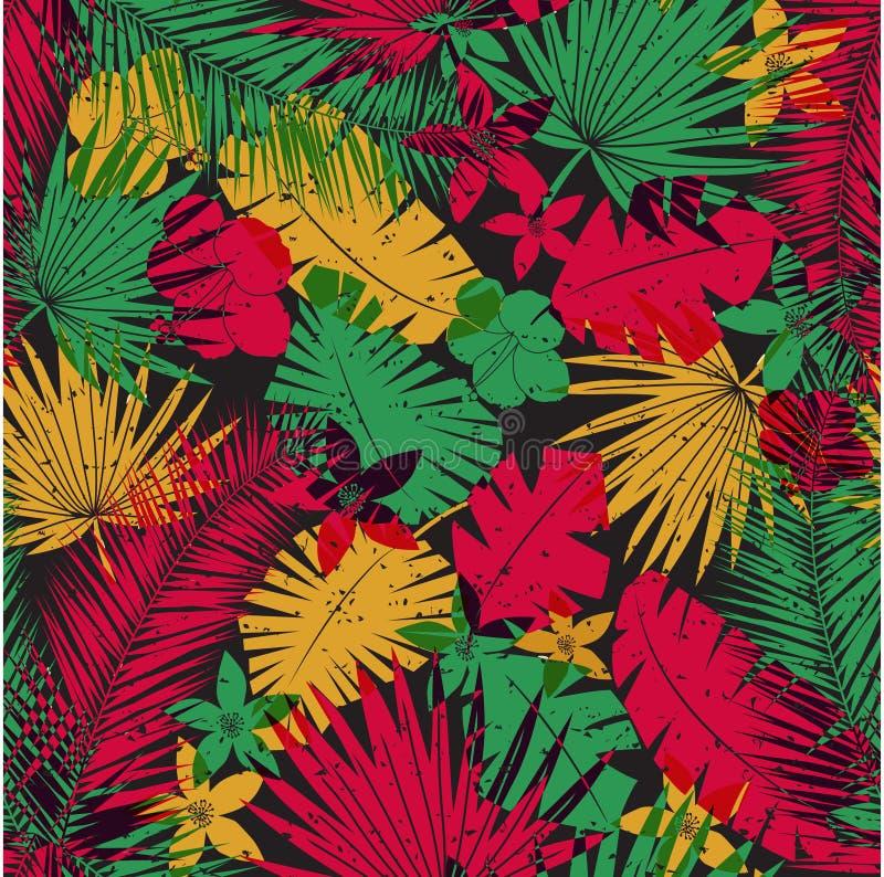 Безшовная тропическая картина джунглей иллюстрация штока