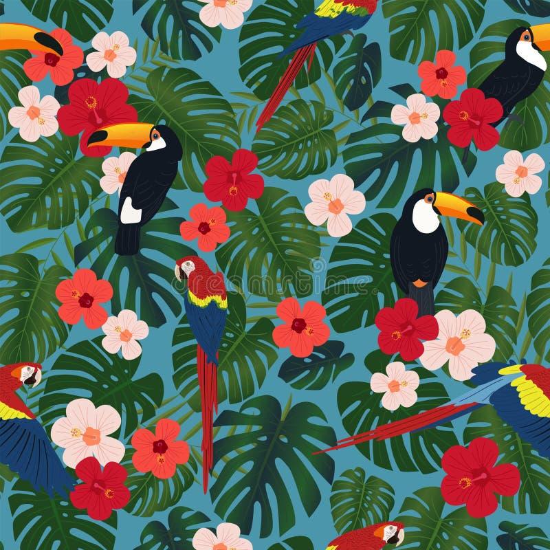 Безшовная тропическая картина, листья monstera, китайские розовые цветки, красные попугаи ara, toucan птицы на голубой предпосылк иллюстрация вектора