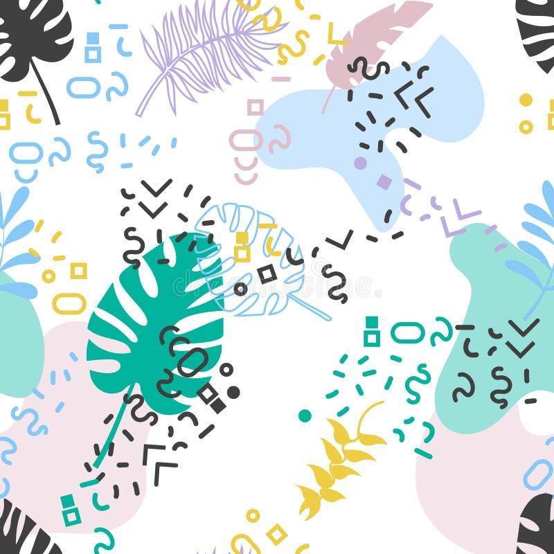 Безшовная тропическая картина Мемфиса сбор винограда бумаги орнамента предпосылки геометрический старый иллюстрация штока