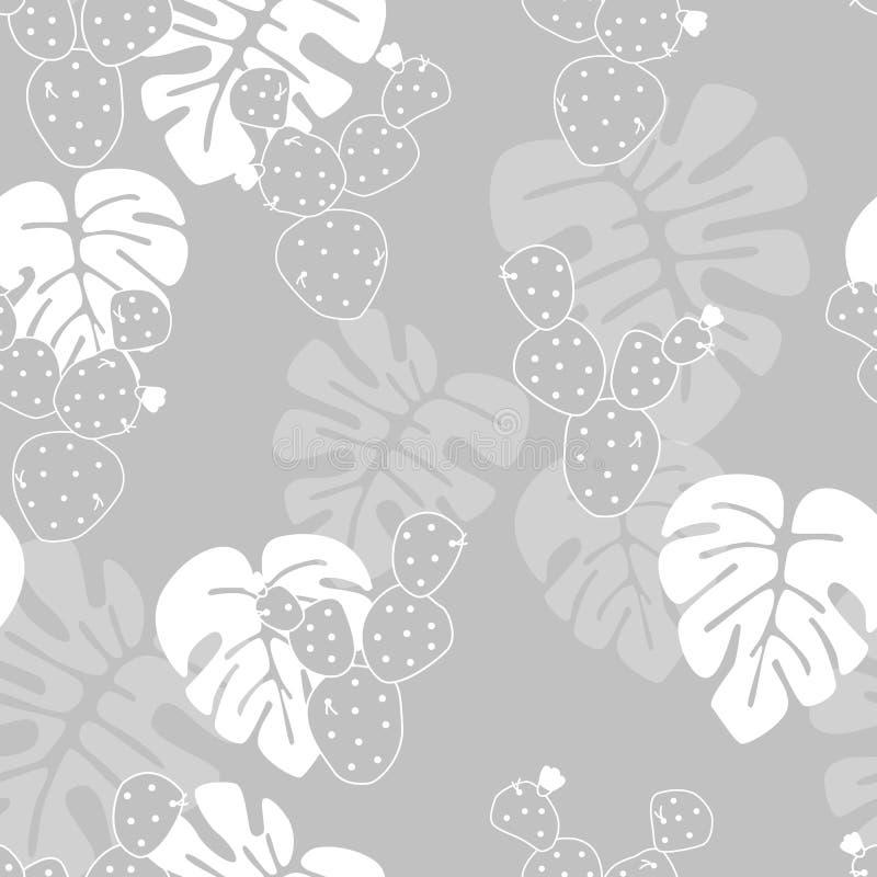 Безшовная тропическая картина с ладонью monstera выходит, и кактус на серую предпосылку бесплатная иллюстрация