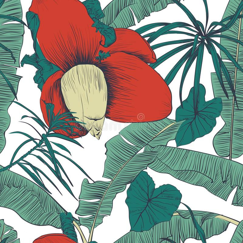Безшовная тропическая картина с ладонями банана также вектор иллюстрации притяжки corel иллюстрация штока