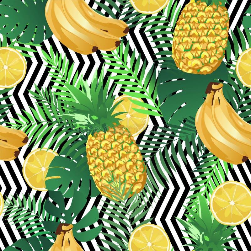 Безшовная тропическая картина с бананами, листьями ладони лимонов и ананасами Текстура лета экзотическая бесконечная, обои иллюстрация вектора