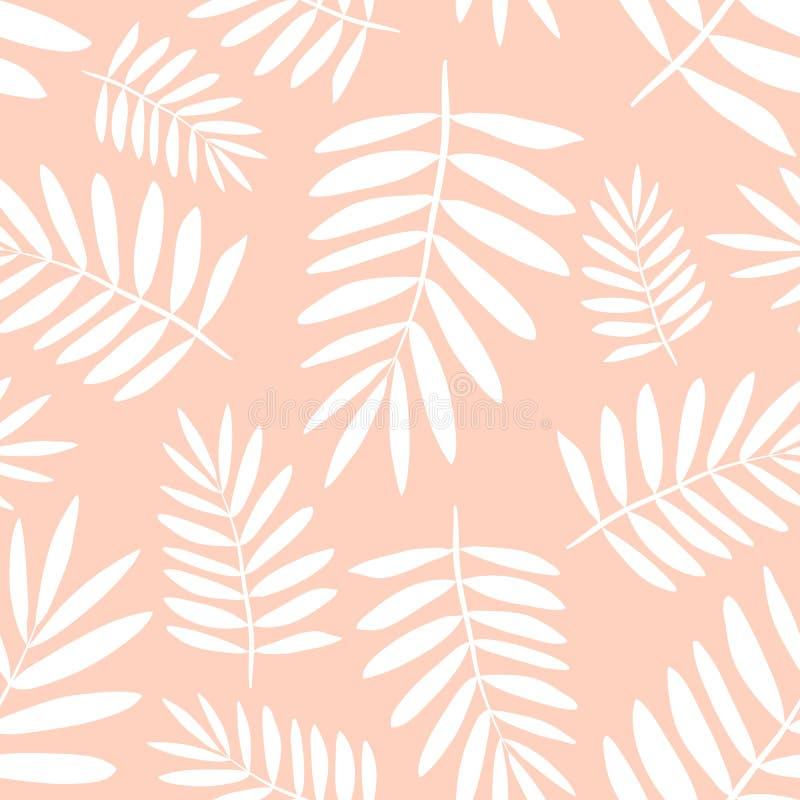 Безшовная тропическая картина с белыми листьями ладони на желтой предпосылке Иллюстрация лета вектора экзотическая фламинго для иллюстрация вектора