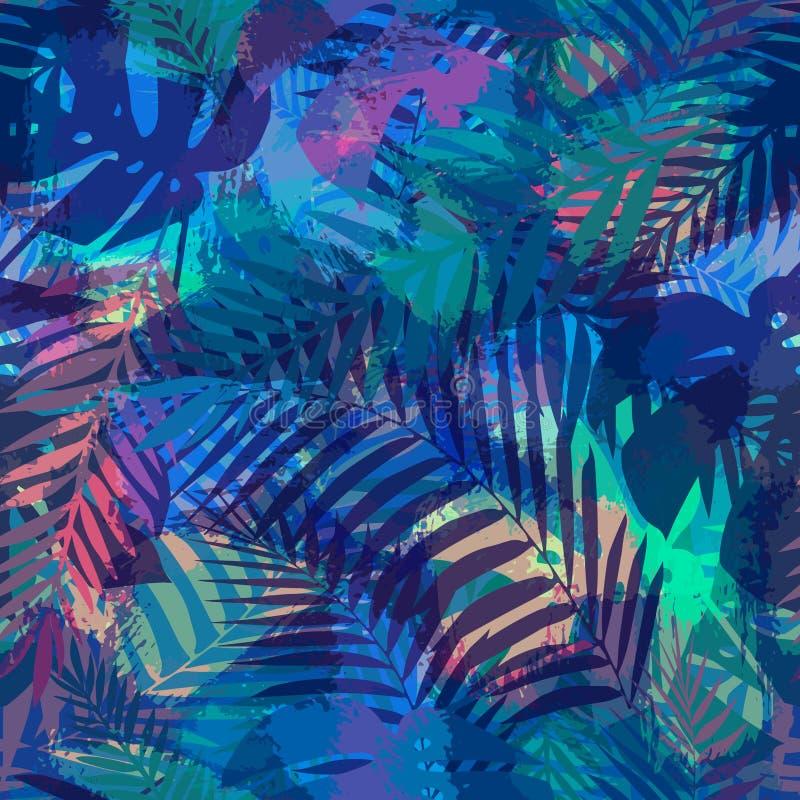 Безшовная тропическая картина с листьями ладони бесплатная иллюстрация