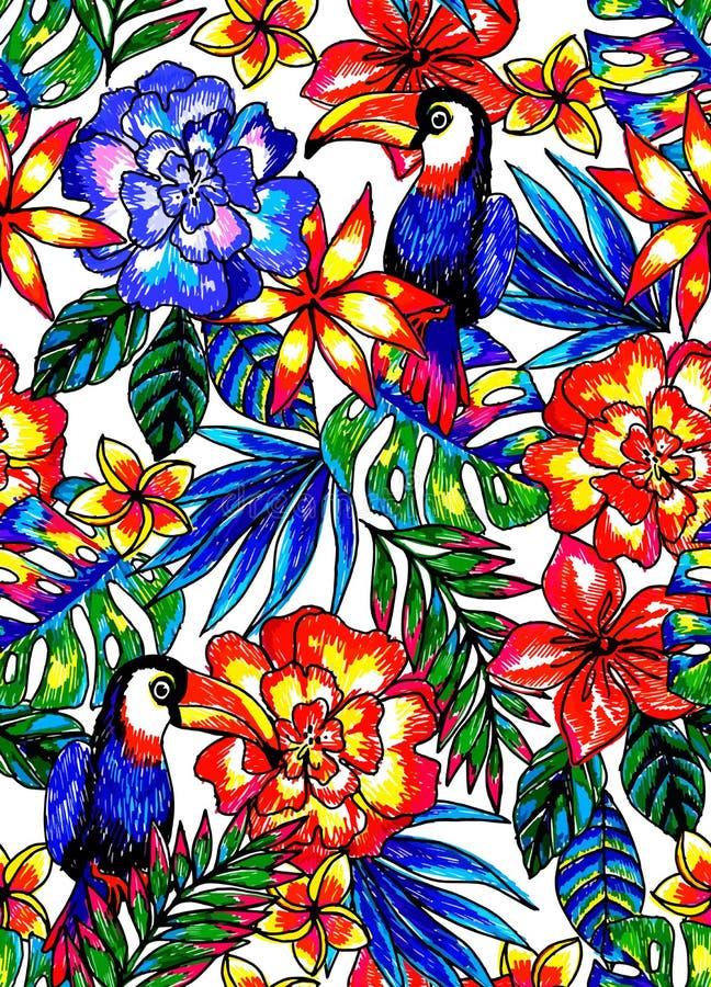 Безшовная тропическая картина с экзотическими цветками листьев, toucan, и джунглей иллюстрация вектора