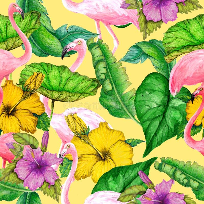 Безшовная тропическая картина цветков, фламинго и листьев акварели бесплатная иллюстрация