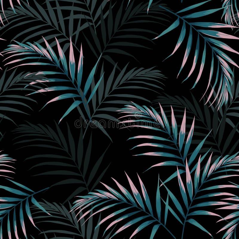 Безшовная тропическая картина, яркая троповая листва, с темными и розовыми листьями ладони бесплатная иллюстрация