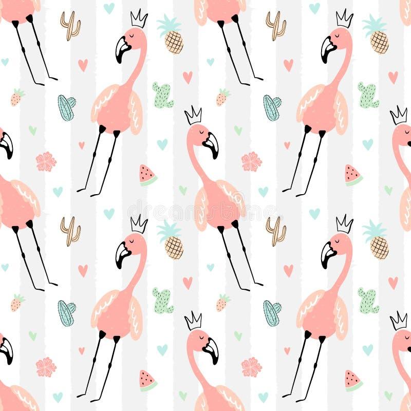 Безшовная тропическая striped картина с милыми фламинго в кроне, ананасом, арбузом, клубникой, кактусами Лето вектора иллюстрация вектора