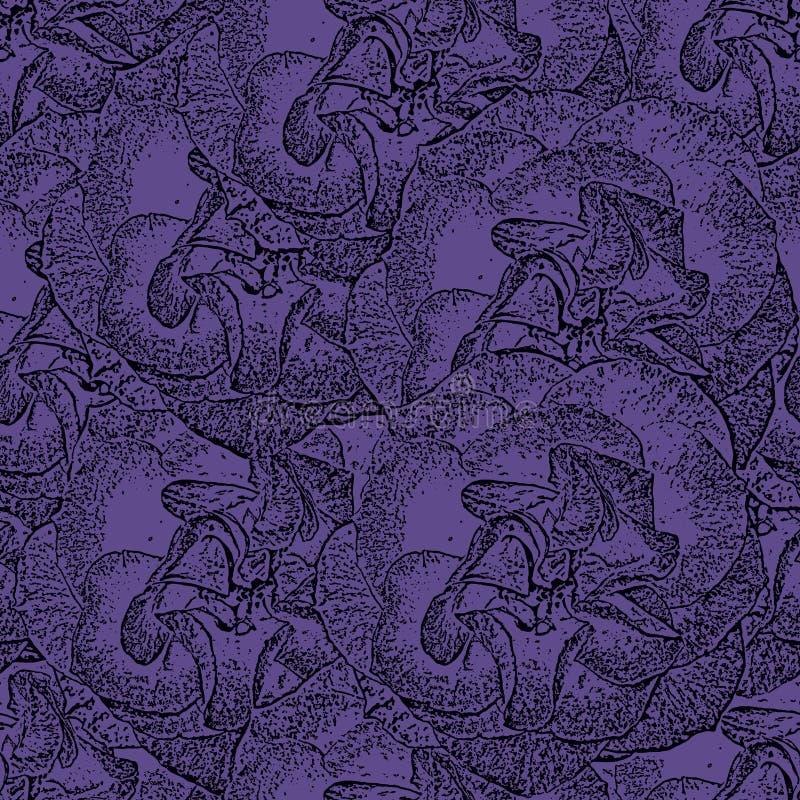 Безшовная фиолетовая monochrome картина с розами бесплатная иллюстрация