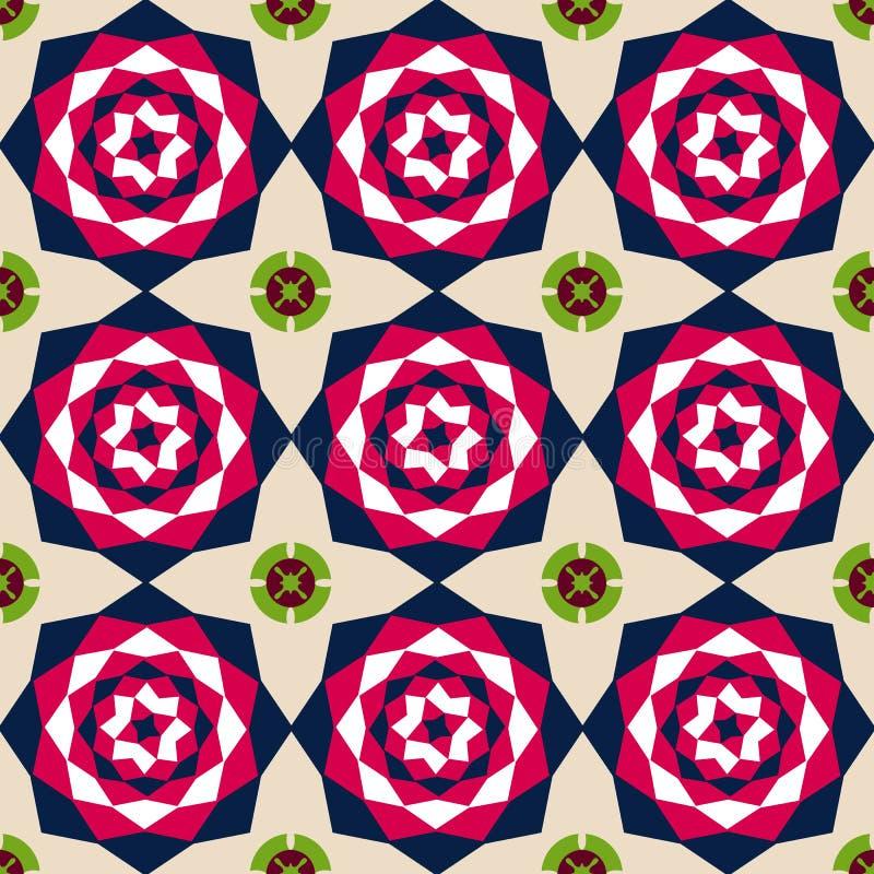 Безшовная флористическая абстрактная геометрическая предпосылка картины Год сбора винограда f иллюстрация штока
