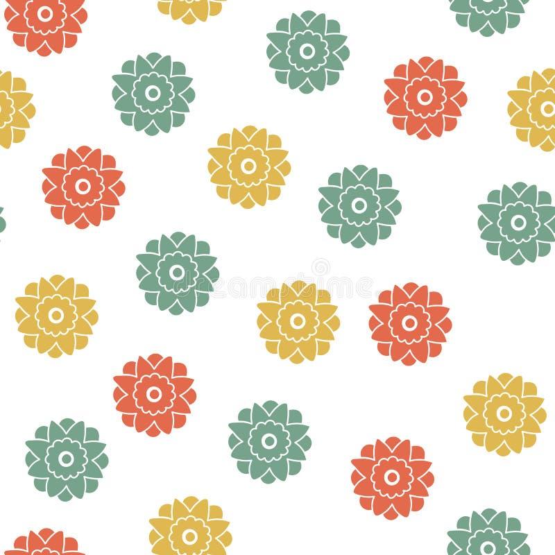 Безшовная флористическая геометрическая картина Небольшие цветки, точка польки бесплатная иллюстрация