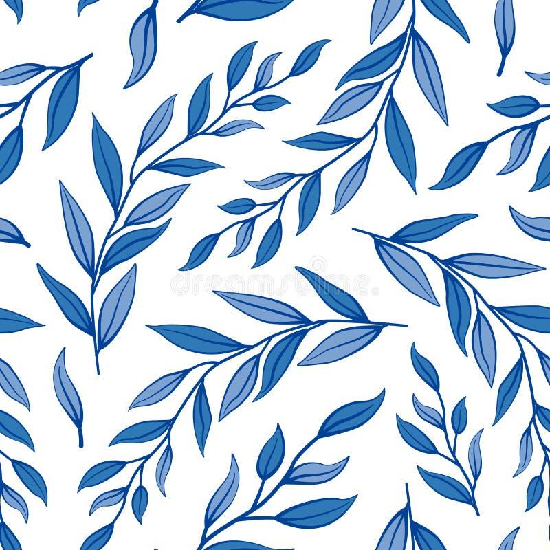 Безшовная флористическая картина лета Ветви вектора с голубыми листьями бесплатная иллюстрация