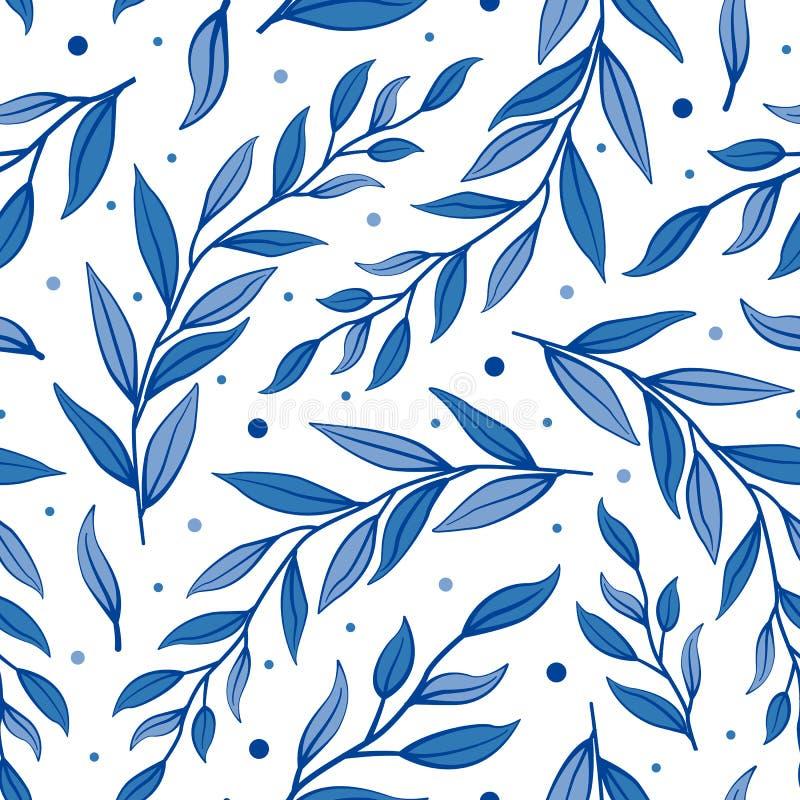 Безшовная флористическая картина лета Ветви вектора с голубыми листьями иллюстрация вектора