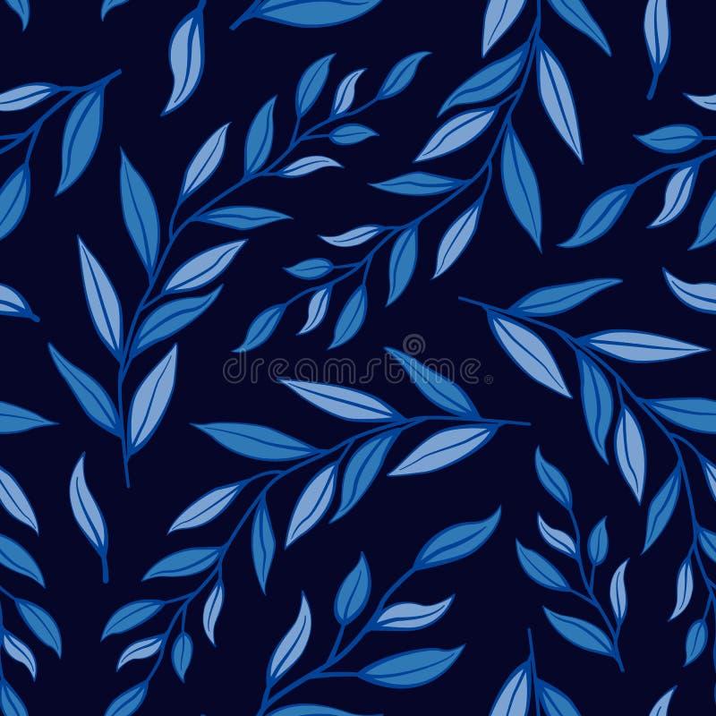 Безшовная флористическая картина лета Ветви вектора с голубыми листьями на темной предпосылке иллюстрация вектора