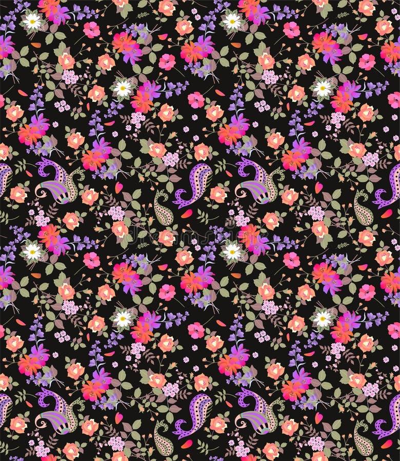 Безшовная флористическая картина лета с Пейсли, букетами роз, маргаритки, космоса и цветков колокола на черной предпосылке иллюстрация вектора