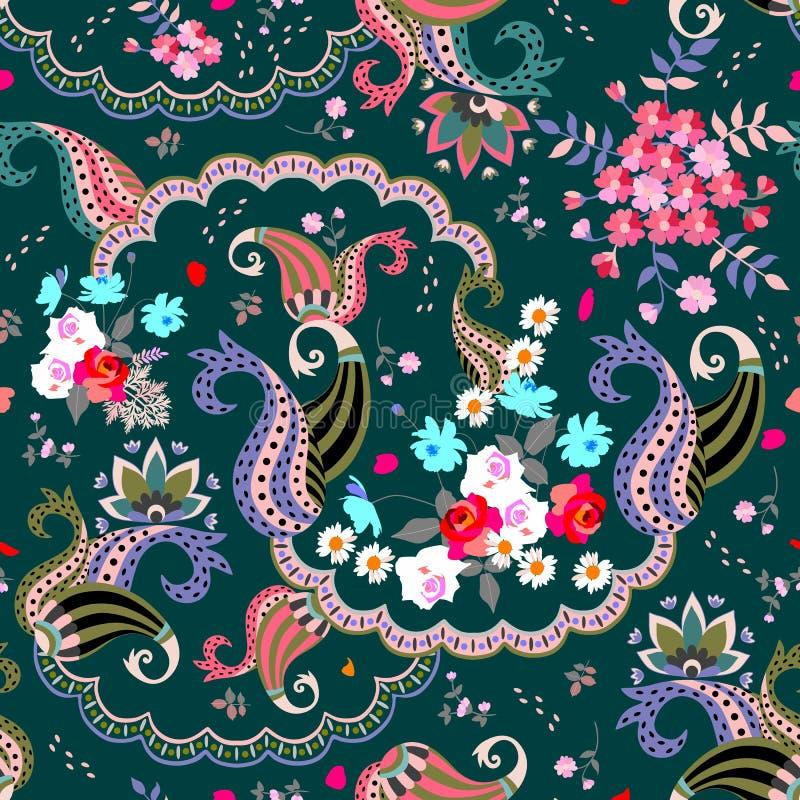 Безшовная флористическая картина Пейсли в фольклорном стиле Multicolor иллюстрация вектора Индийские, русские, турецкие поводы иллюстрация вектора