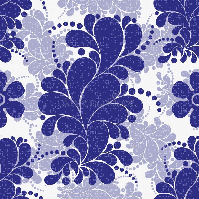Безшовная флористическая картина сини военно-морского флота с точками Пейсли и польки бесплатная иллюстрация