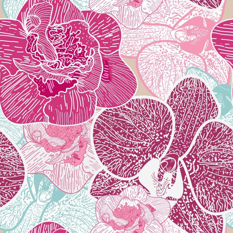 Безшовная флористическая текстура иллюстрация вектора