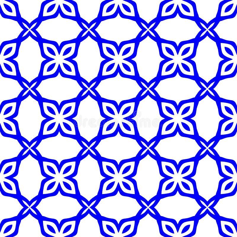 Безшовная флористическая monochrome картина сделанная из абстрактных цветков Предпосылка белизны и сини военно-морского флота гра иллюстрация вектора