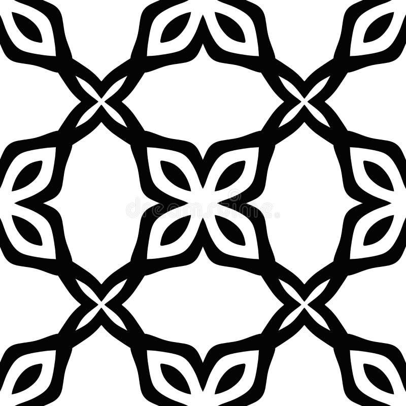 Безшовная флористическая monochrome картина с абстрактными цветенями Белая и черная графическая современная предпосылка иллюстрация штока