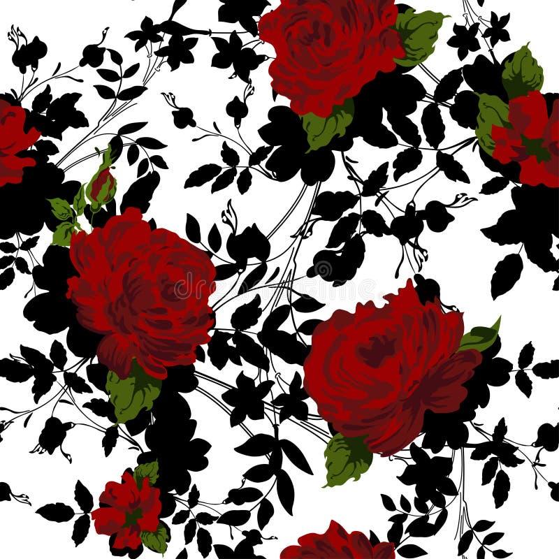 Безшовная флористическая картина с красными розами иллюстрация штока