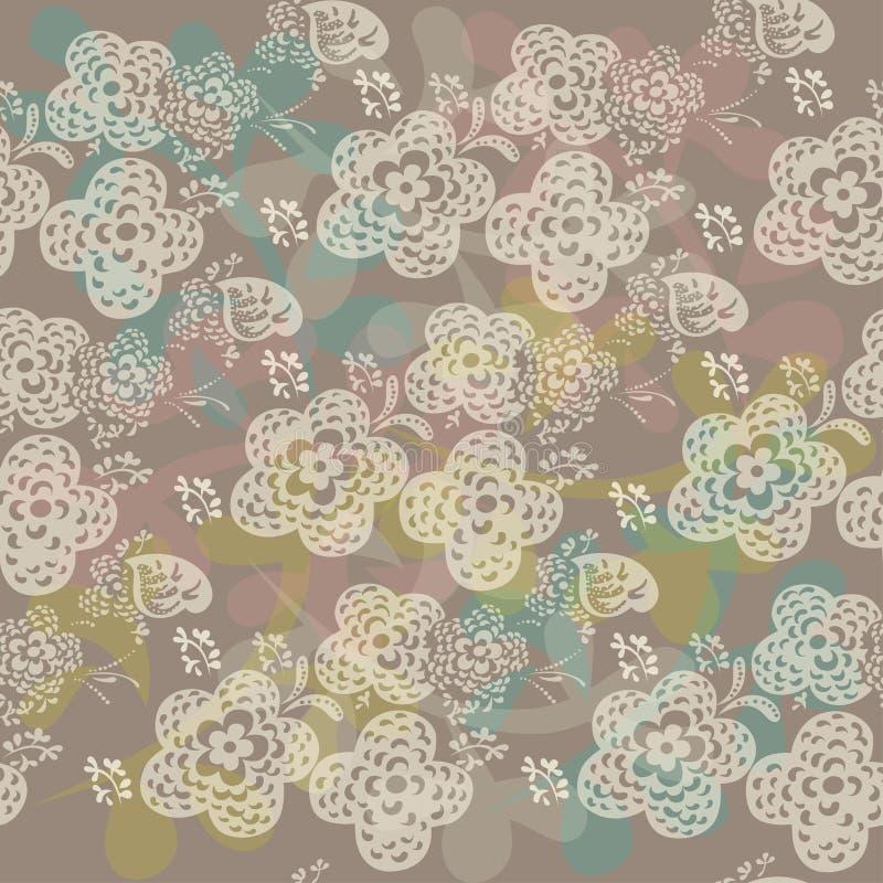 Безшовная флористическая картина с милый цветками иллюстрация штока