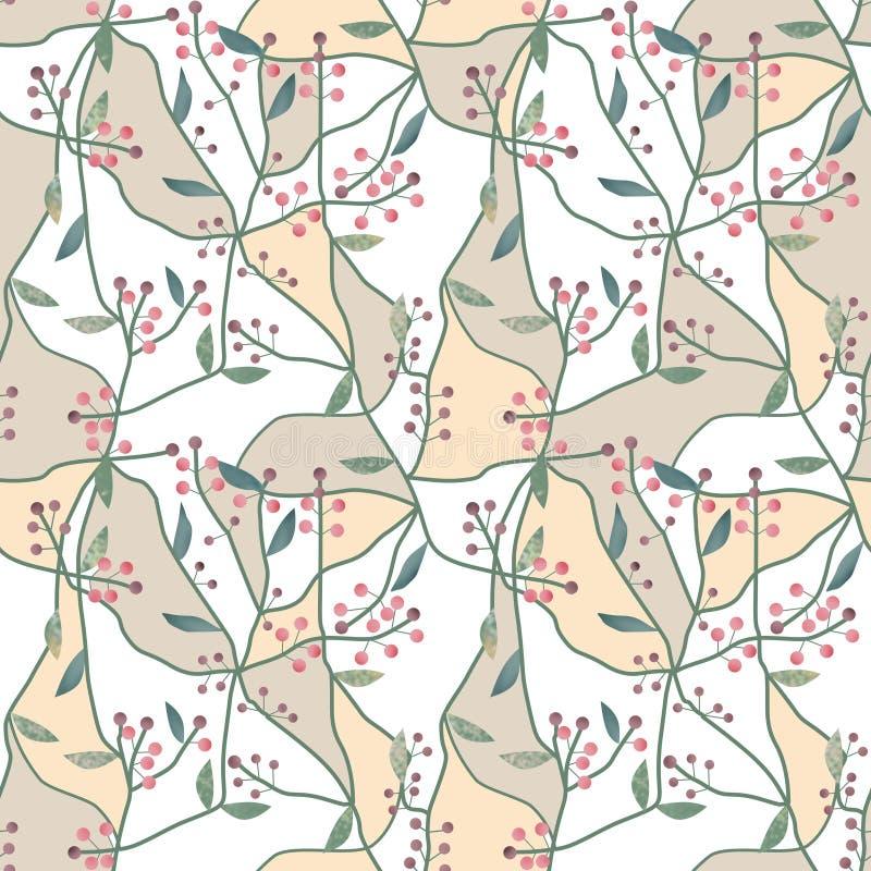 Безшовная флористическая картина ягоды на бежевой белизне иллюстрация штока