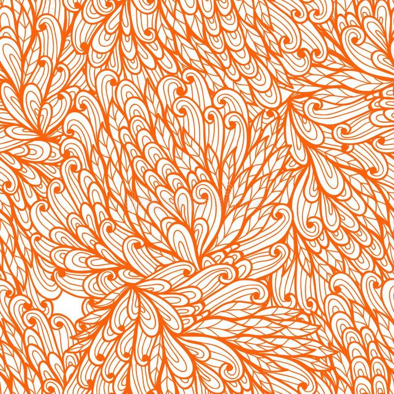 Безшовная флористическая оранжевая картина иллюстрация вектора