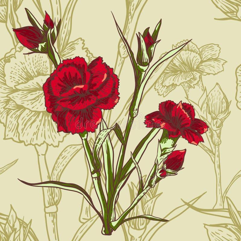 Безшовная флористическая предпосылка с гвоздикой бесплатная иллюстрация