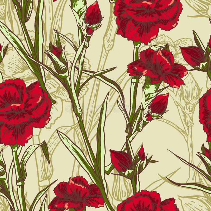 Безшовная флористическая предпосылка с гвоздикой иллюстрация штока