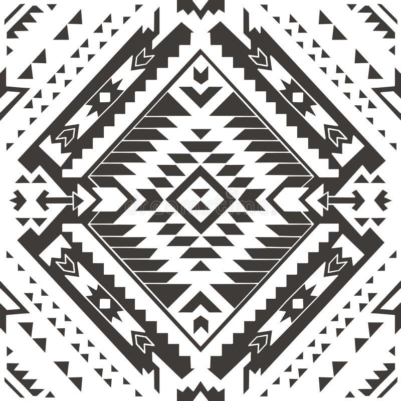 Безшовная цветастая ацтекская картина белизна вала карандаша чертежа предпосылки иллюстрация штока