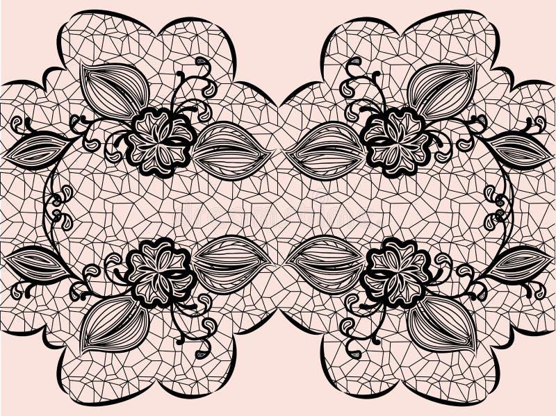 Безшовная черная лента шнурка с флористическими элементами для поздравительных открыток дизайна или приглашений свадьбы бесплатная иллюстрация